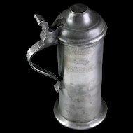 Fine Quality Antique British pewter tankard, 18th. century!