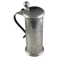 Large top condition early German pewter beer tankard or stein mug, 1751 - inscribed!