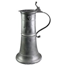 Rare large Baroque German pewter tankard, dated 1673!