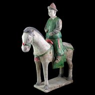 XL Ming Dynasty Tomb pottery figure of a horseman, c. 1500 AD!