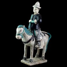 XL Ming Dynasty pottery horse rider attendant, 1368-1644