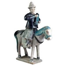 Superb & XL Ming Dynasty pottery horse rider attendant, 1678-1644