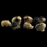Rare set of 7 Jade, Nephrite pendants - beads shaped as animals!