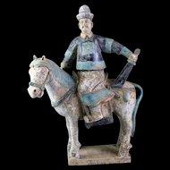 Ming Dynasty Mandarin officer tomb pottery Horseman with sword!