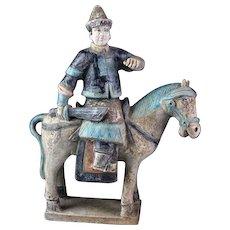 Superb Ming Dynasty Mandarin armed officer tomb pottery Horseman!