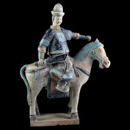Rare Ming Dynasty Mandarin armed officer tomb pottery Horseman!