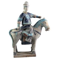 Rare Ming Dynasty Mandarin armed officer tomb pottery Horseman!