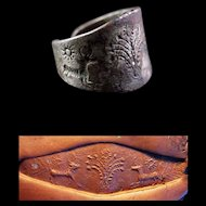 Important massive Archaemenid Empire Silver seal ring!