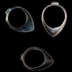 Rare Ancient Western Asian Silver Archers thumb ring 1st. millenium BC