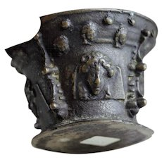 Rare Spanish or French bronze mortar w faces, late 16th. century