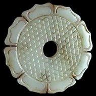 Beautiful Chinese Celadon Nephrite Jade pendant as a Bi-Disc!