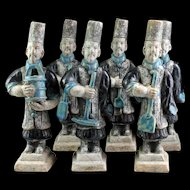 Set of 6 Chinese Ming Dynasty pottery Tomb figures of Gardeners