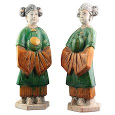 A superb pair of Ming Dynasty pottery female attendants!