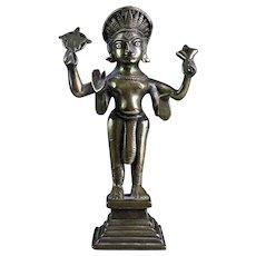 Indian Hindu bronze or brass figure of the standing Vishnu, 18th.c.!