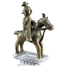 Brass Horse-Mounted Aiyanar, Tamil Nadu, South India, 18th. century