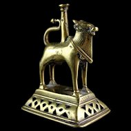 Antique Indian Hindu Brass Figure of Nandi Bull of Shiva, 19th. cent.