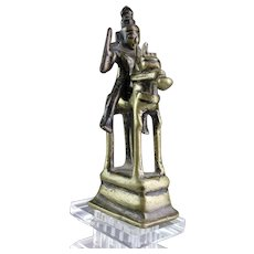India Hindu bronze figurine of Shiva and Parvati on horse, 17th. cent