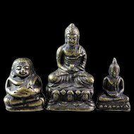 Lot of three rare Thai Buddhist miniature bronze Buddhas!