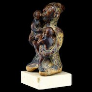 Thai Sawankhalok Pottery Figure of Woman w. Children, c. 15th Cent AD