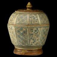 Covered Thai Sawankhalok blue & white pottery jar, 16th cent.