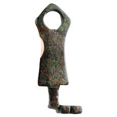 Superb larger Roman bronze key, late period ca. 3rd.-6th. century