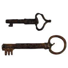 Pair of European Iron Keys, medieval-early renaissance!