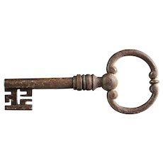 Nice larger European Iron Chest key, 17th. century