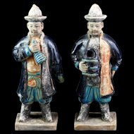 Superb set of two lovely China Ming Dynasty pottery attendants!