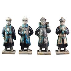 Rare set of four Chinese Ming Dynasty tomb pottery attendants!