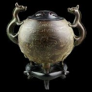 Chinese Late Ming bronze incense burner, battlescene!!