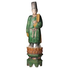 XL & decorative male Ming Dynasty pottery attendant on lotus throne!