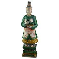 XXL Ming Dynasty pottery figure lady attendant, 62-63 cm!