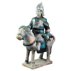 Chinese Ming Tomb pottery figure of military Horseman w. Grenades!