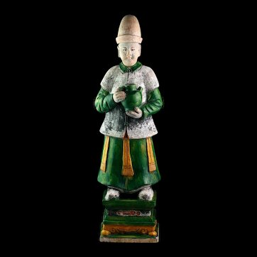 An xxl Chinese tomb pottery male Attendant Ming Dynasty!