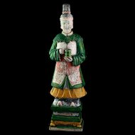 XXL Ming Dynasty tomb female pottery figure, attendant, 64 cm!