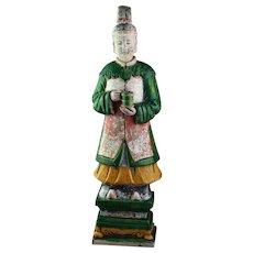 XXL Ming Dynasty tomb female pottery figure, attendant, 64 cm!
