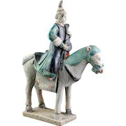 Rare Female pottery rider / Musician on horseback, Chinese Ming!