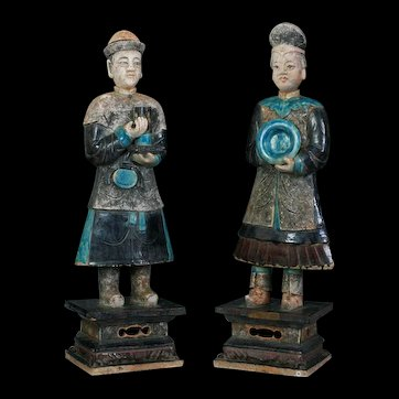 Important pair of XXXL MING DYNASTY pottery attendants w. TL-test!!