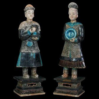 Important pair of XXXL MING DYNASTY pottery attendants w. TL-test!!