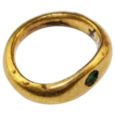 Nice Roman Gold ring with green stone, 1st.-3rd. century AD