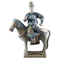 Superb Ming Dynasty Mandarin tomb pottery officer Horseman