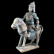Scarce Chinese Ming Tomb pottery figure of horseman w Bow!