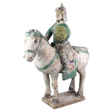 Huge Chinese Tomb pottery figure of Officer Horseman, Ming Dynasty!