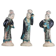 Coll. of 3 Chinese tomb pottery court ladies / attendants, China Ming Dynasty