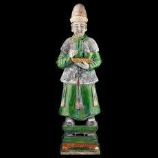 XXL Ming Dynasty tomb male pottery figure, attendant, 64 cm! XXL Ming
