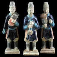 Set of three superb Ming Dynasty tomb pottery attendants!