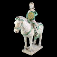 XXL Chinese Tomb pottery figure of Officer Horseman, Ming Dynasty!