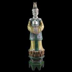 Impressive female Ming Dynasty pottery attendant on lotus throne!