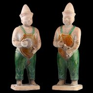 A pair of Ming Dynasty Attendants 'fatman', 1368-1644 AD