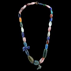 Egyptian Jevellery necklace with glass, stone and silver beads
